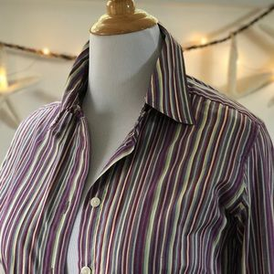 Saks 5th Avenue Striped Shirt Fitted Button Down